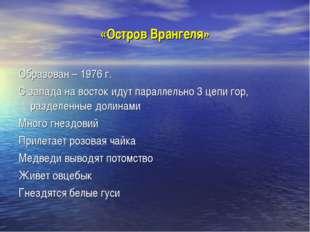 «Остров Врангеля» Образован – 1976 г. С запада на восток идут параллельно 3 ц