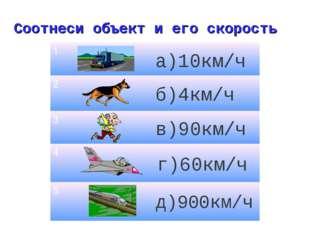 Соотнеси объект и его скорость б)4км/ч а)10км/ч д)900км/ч в)90км/ч г)60км/ч 1