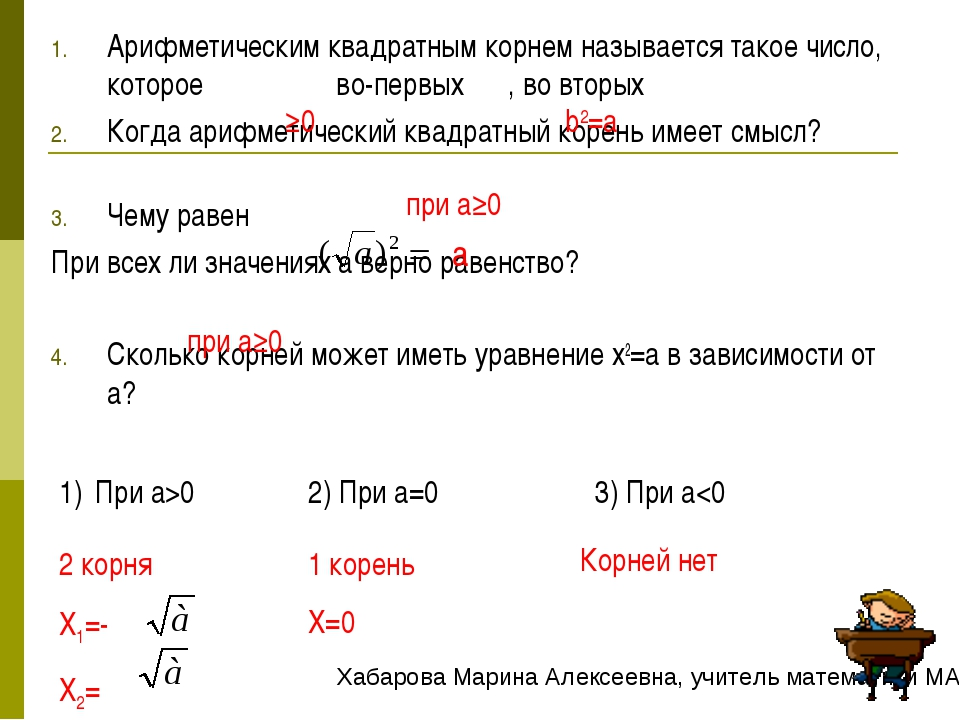 Арифметическим квадратным корнем называется такое число, которое во-первых ,...