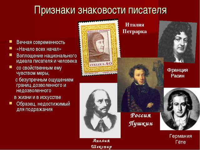 Признаки знаковости писателя Вечная современность «Начало всех начал» Воплоще...