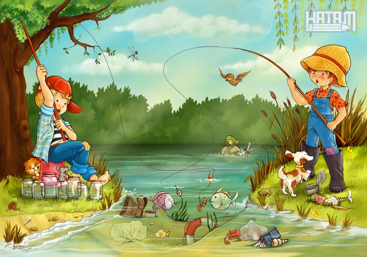 Картинки дети на рыбалки