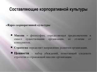 Составляющие корпоративной культуры «Ядро» корпоративной культуры Миссия – фи