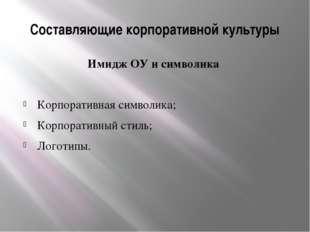 Составляющие корпоративной культуры Имидж ОУ и символика Корпоративная символ