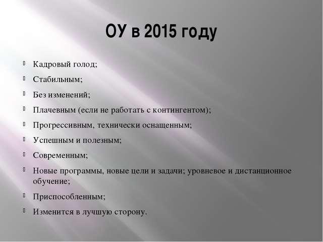 ОУ в 2015 году Кадровый голод; Стабильным; Без изменений; Плачевным (если не...