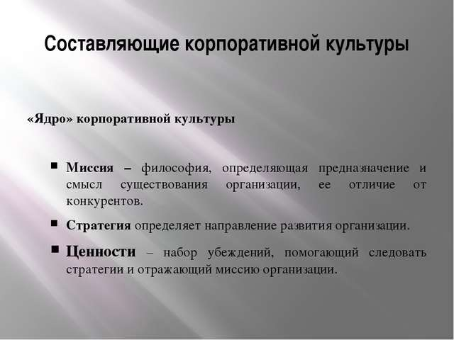 Составляющие корпоративной культуры «Ядро» корпоративной культуры Миссия – фи...