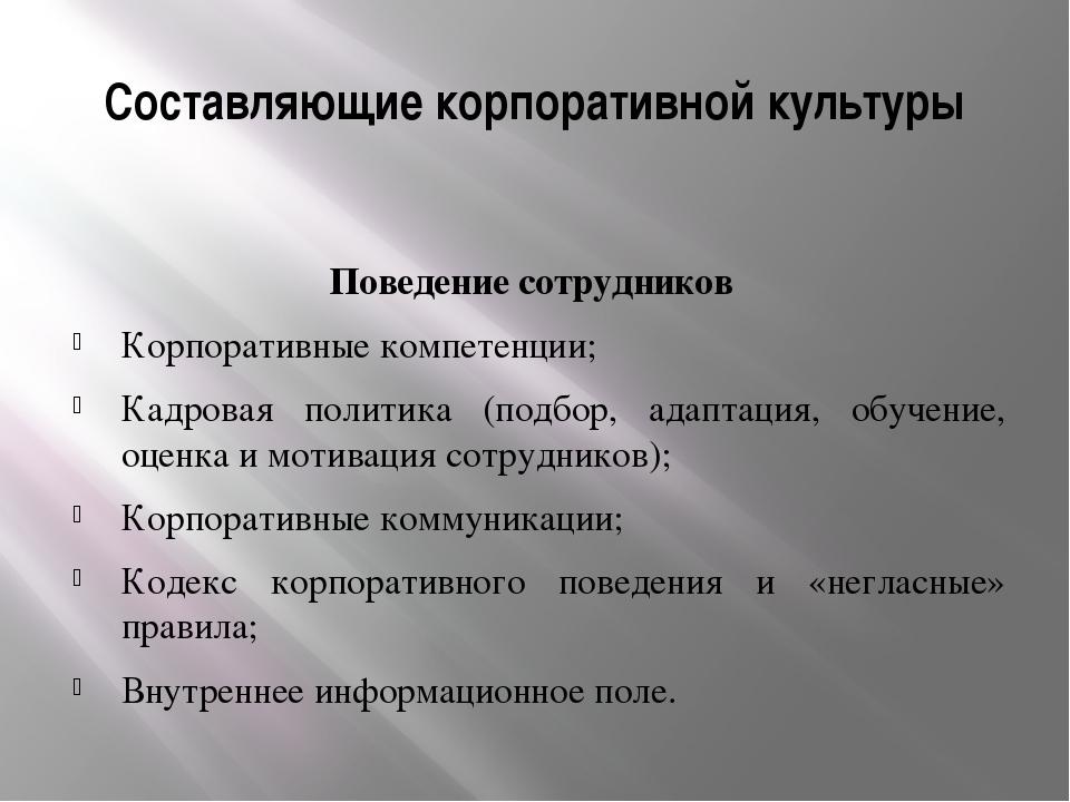Составляющие корпоративной культуры Поведение сотрудников Корпоративные компе...