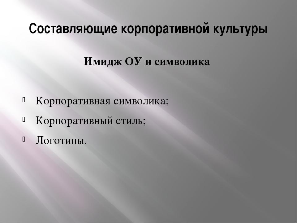 Составляющие корпоративной культуры Имидж ОУ и символика Корпоративная символ...
