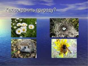 Как сохранить природу?