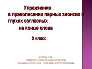 Упражнения в правописании парных звонких и глухих согласных на конце слова 2