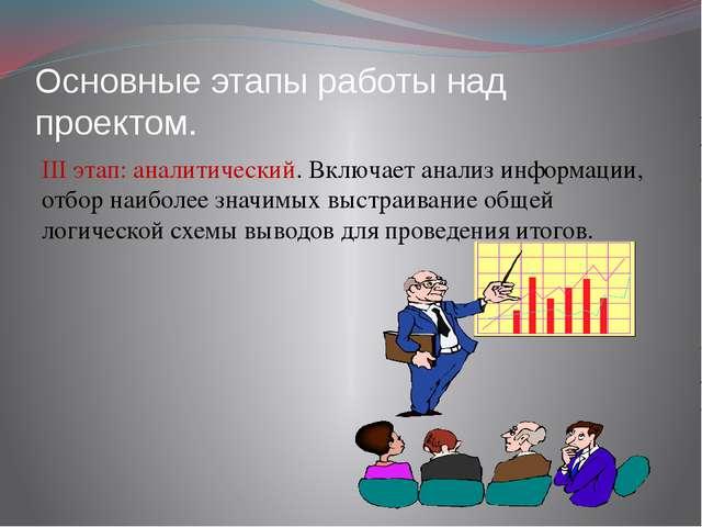 Основные этапы работы над проектом. III этап: аналитический. Включает анализ...