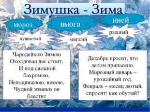 мороз иней вьюга пушистый мягкий рыхлый Чародейкою Зимою Околдован лес стоит,