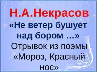Н.А.Некрасов «Не ветер бушует над бором …» Отрывок из поэмы «Мороз, Красный н