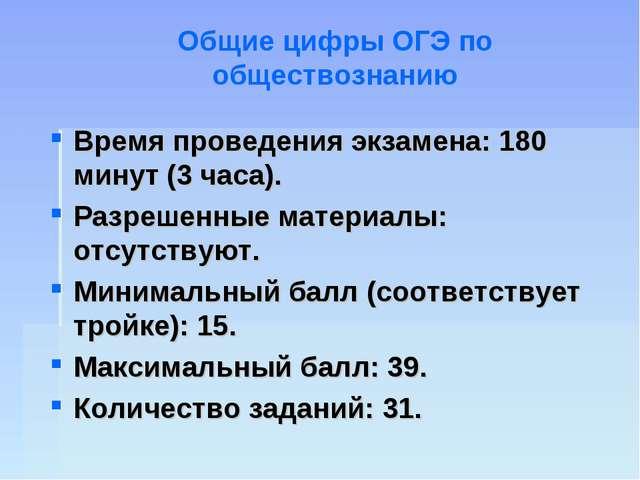 Время проведения экзамена: 180 минут (3 часа). Разрешенные материалы: отсутст...