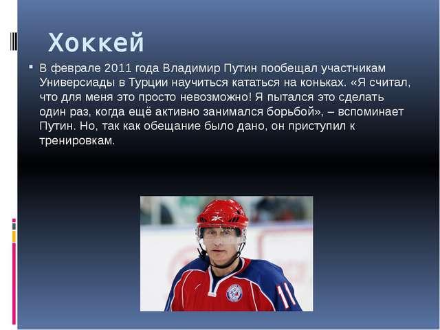 Хоккей В феврале 2011 года Владимир Путин пообещал участникам Универсиады в Т...