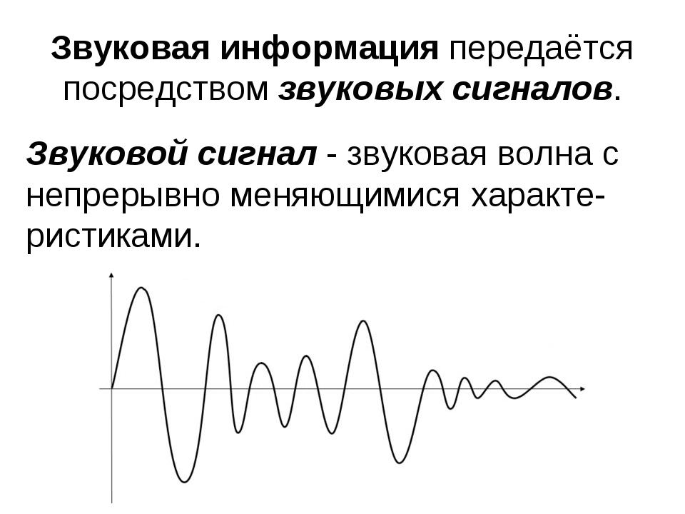 Звуковая информация передаётся посредством звуковых сигналов. Звуковой сигнал...