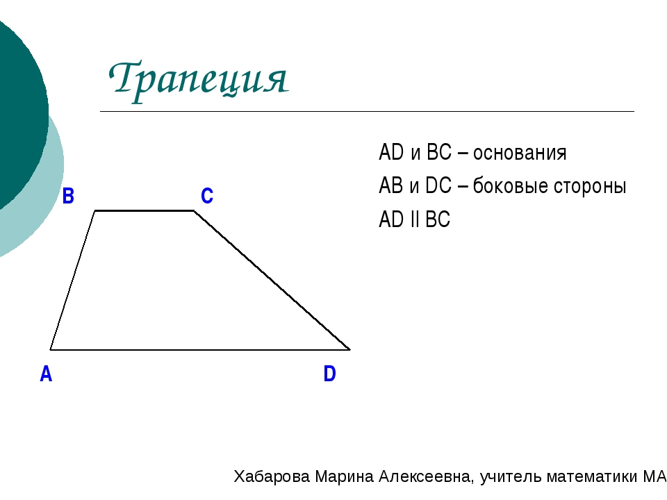 Трапеция AD и BC – основания AB и DC – боковые стороны AD || BC A B C D Хабар...
