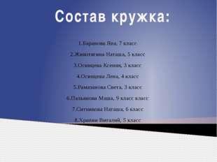 Состав кружка: 1.Баранова Яна, 7 класс 2.Животягина Наташа, 5 класс 3.Осинцев