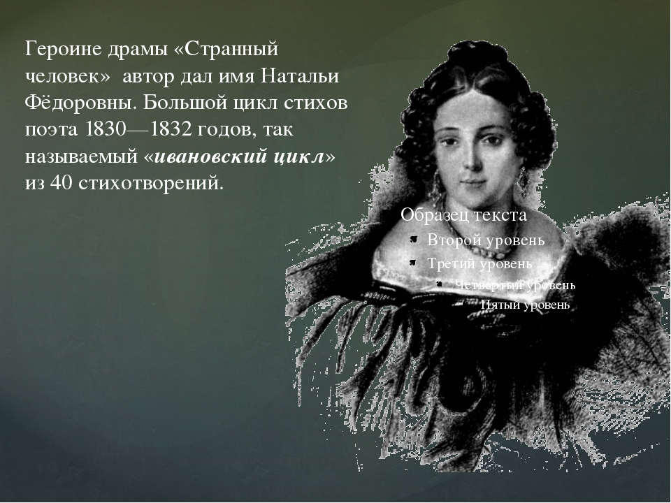 Героине драмы «Странный человек» автор дал имя Натальи Фёдоровны. Большой ци...