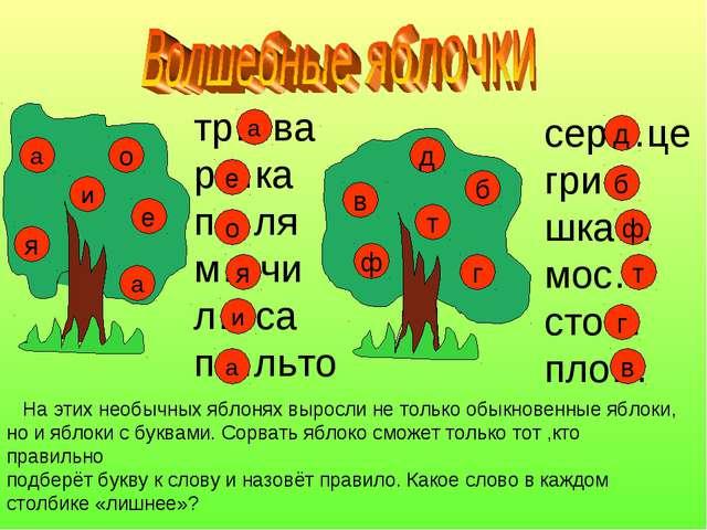 а и я е о ф д в т б г На этих необычных яблонях выросли не только обыкновенны...