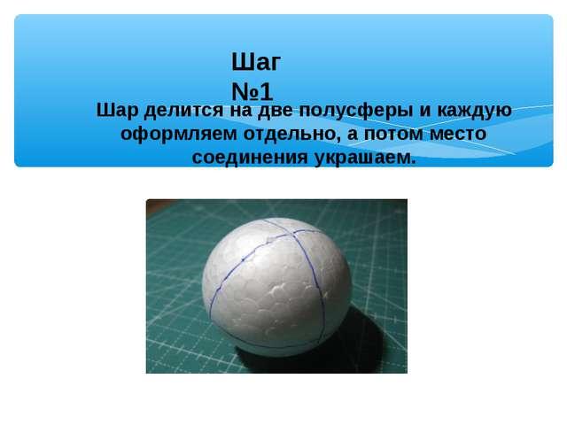 Шар делится на две полусферы и каждую оформляем отдельно, а потом место соеди...