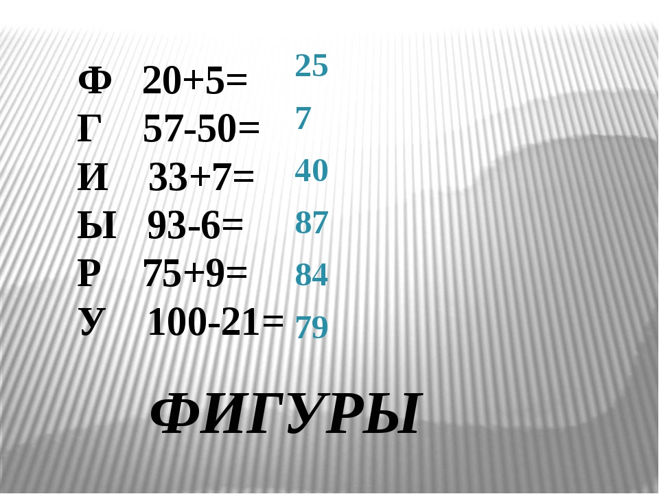 Ф 20+5= Г 57-50= И 33+7= Ы 93-6= Р 75+9= У 100-21= 25 7 40 87 84 79 ФИГУРЫ