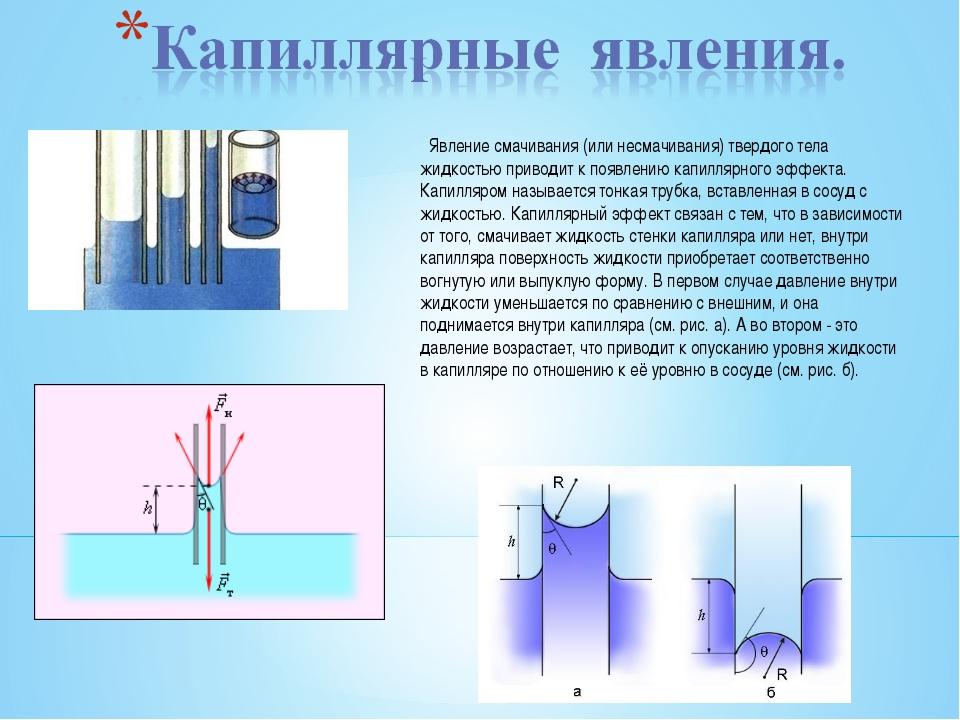 Почему искривляется поверхность жидкости у стенок твёрдых тел