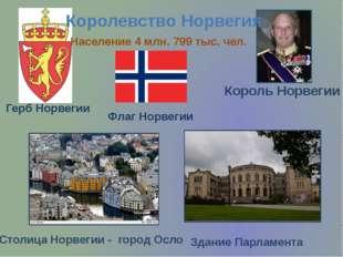 Столица Норвегии - город Осло Герб Норвегии Флаг Норвегии Король Норвегии Кор
