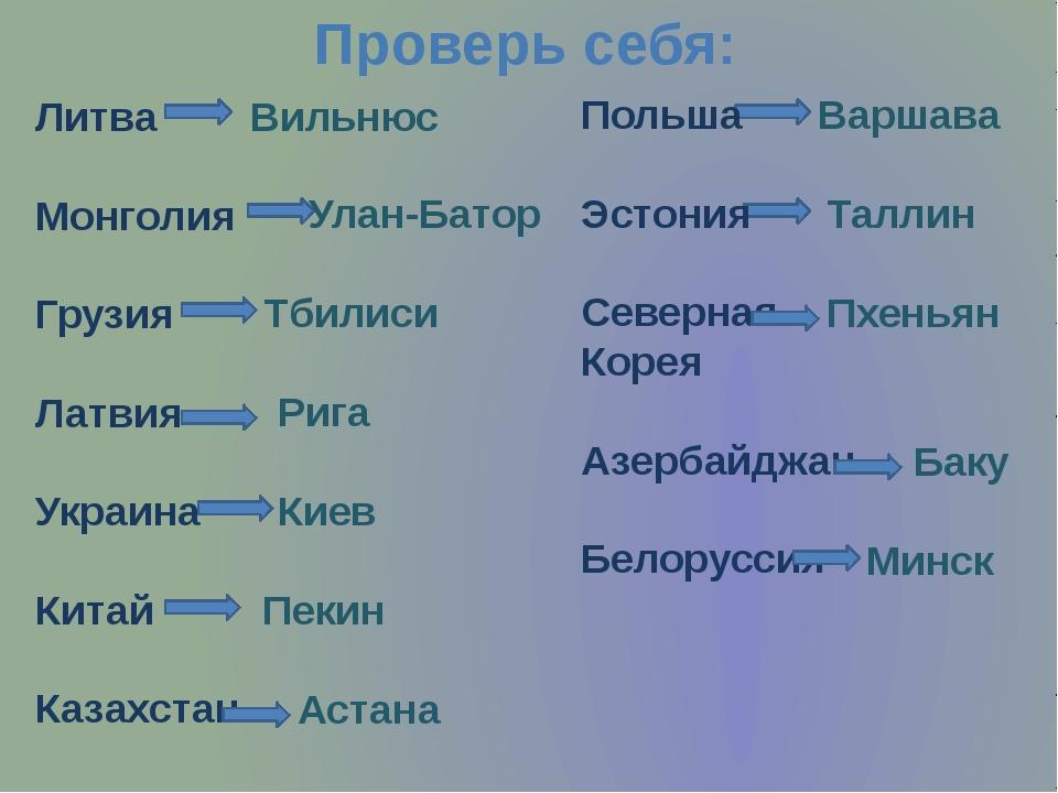 Проверь себя: Литва Монголия Грузия Латвия Украина Китай Казахстан Вильнюс Ул...
