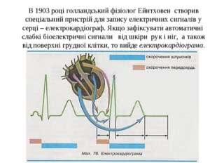 В 1903 році голландський фізіолог Ейнтховен створив спеціальний пристрій для