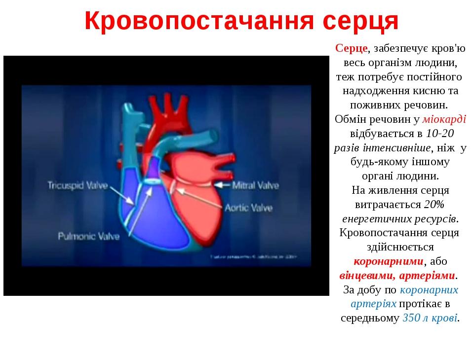Кровопостачання серця Серце, забезпечує кров'ю весь організм людини, теж потр...