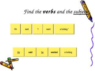 "Find the verbs and the subjects. He said ""I want a hotdog."" He said he wanted"
