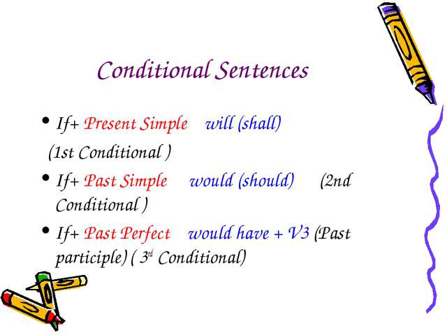 Сonditional Sentences If+ Present Simple will (shall) (1st Conditional ) If+...