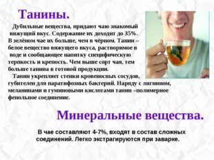 Дубильные вещества, придают чаю знакомый вяжущий вкус. Содержание их доходит