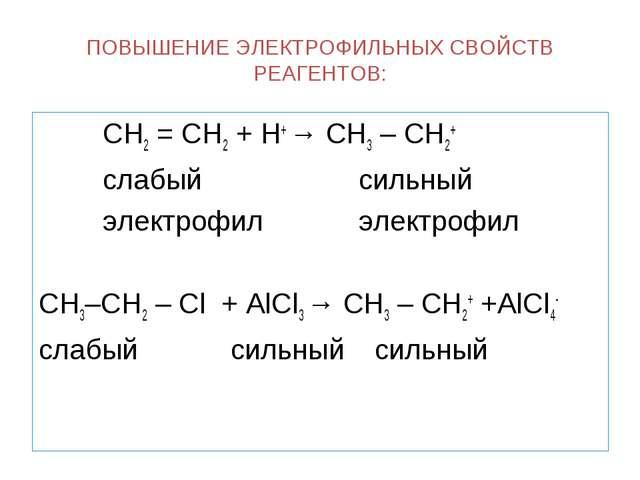 ПОВЫШЕНИЕ ЭЛЕКТРОФИЛЬНЫХ СВОЙСТВ РЕАГЕНТОВ: СН2 = СН2 + Н+ → СН3 – СН2+ с...