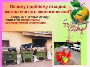 Почему проблему отходов можно считать экологической? Твердые бытовые отходы я