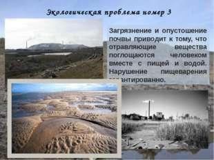 Экологическая проблема номер 3 Загрязнение и опустошение почвы приводит к том