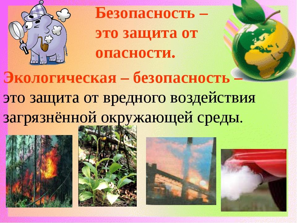 Безопасность – это защита от опасности. Экологическая – безопасность – это за...