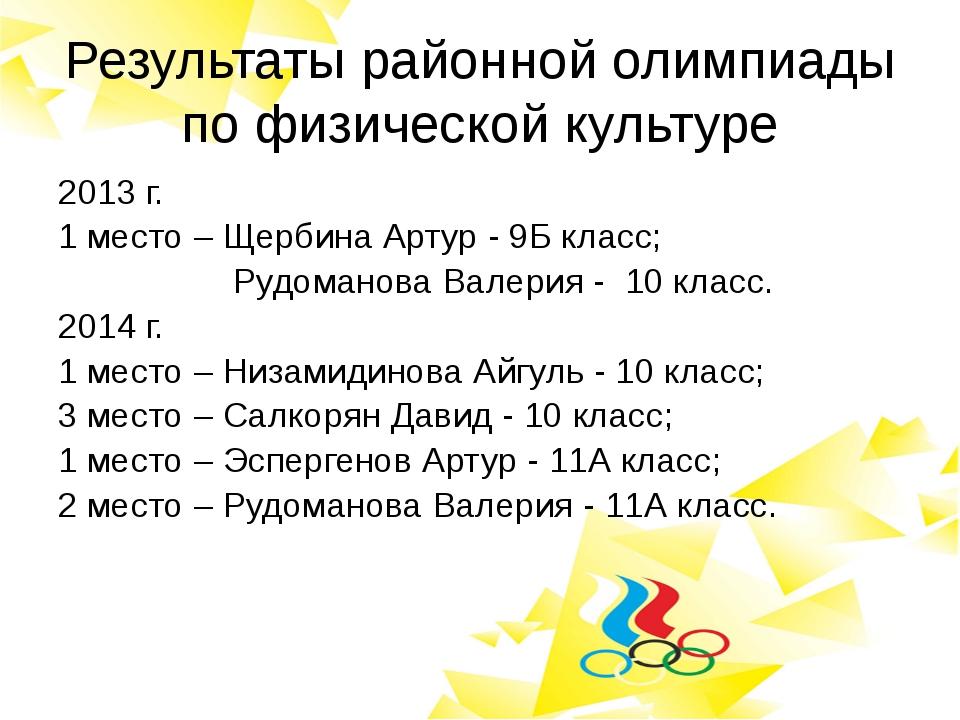 Результаты районной олимпиады по физической культуре 2013 г. 1 место – Щербин...