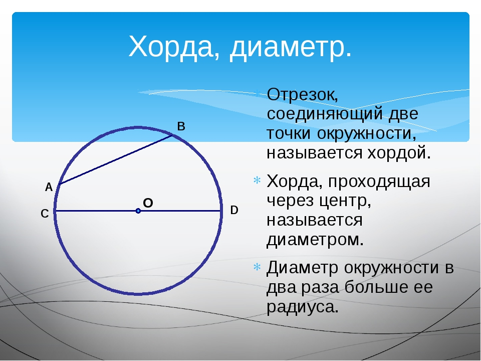 Хорда, диаметр. Отрезок, соединяющий две точки окружности, называется хордой...