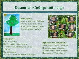 Команда «Сибирский кедр» * * Наш девиз: Мы - команда из Сибири, Очень любим