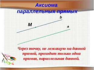 Аксиома параллельных прямых а М b Через точку, не лежащую на данной прямой, п