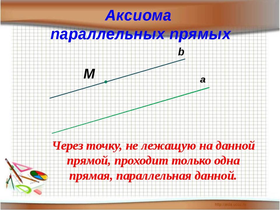 Аксиома параллельных прямых а М b Через точку, не лежащую на данной прямой, п...