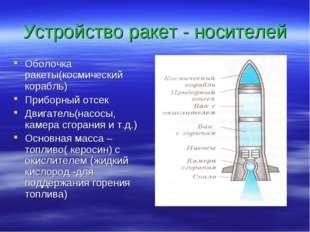 Устройство ракет - носителей Оболочка ракеты(космический корабль) Приборный о