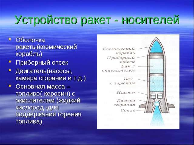 Устройство ракет - носителей Оболочка ракеты(космический корабль) Приборный о...