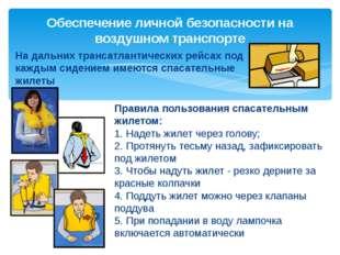 Правила пользования спасательным жилетом: 1. Надеть жилет через голову; 2. Пр