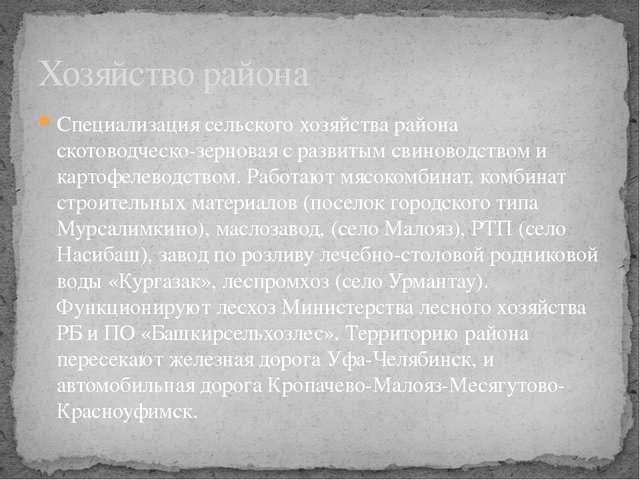 Специализация сельского хозяйства района скотоводческо-зерновая с развитым св...