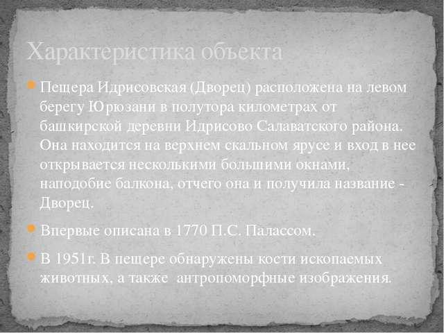 Пещера Идрисовская (Дворец) расположена на левом берегу Юрюзани в полутора ки...