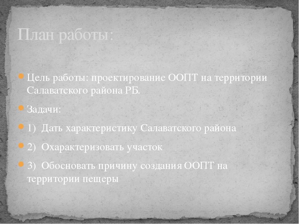 Цель работы: проектирование ООПТ на территории Салаватского района РБ. Задач...