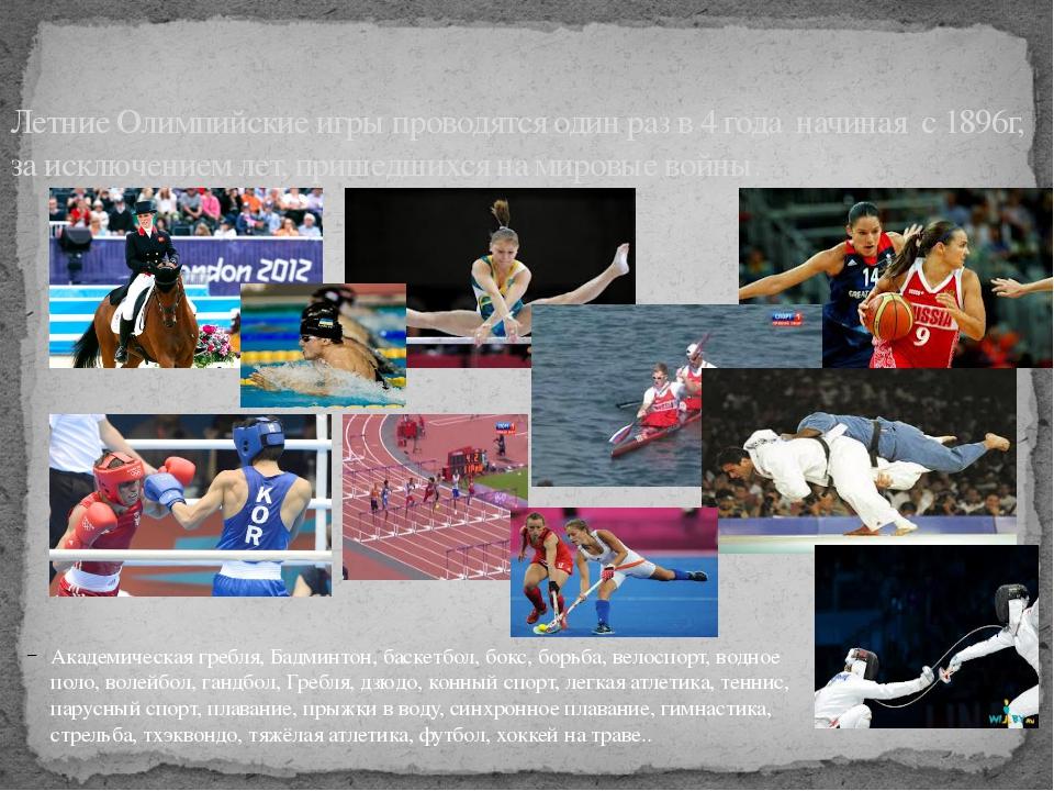 Академическая гребля, Бадминтон, баскетбол, бокс, борьба, велоспорт, водное п...