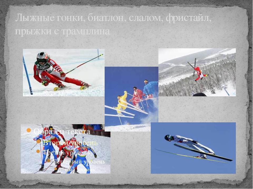 Лыжные гонки, биатлон, слалом, фристайл, прыжки с трамплина